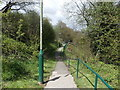 ST1599 : Railed footpath to Gilfach Fargoed railway station by Jaggery
