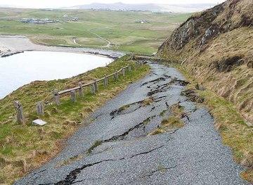 HP6514 : Landslip on the old Skaw road up the Cliffs by Oliver Dixon