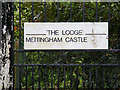 TM3588 : The Lodge Mettingham Castle sign by Adrian Cable
