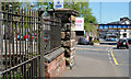 D1003 : Old railway fence and gate pillar, Ballymena by Albert Bridge