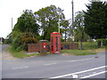 TM3989 : Field entrance, Telephone Box & The Old School Postbox by Adrian Cable