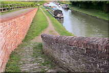 SP7155 : Towpath and moorings from the roving bridge by Philip Jeffrey