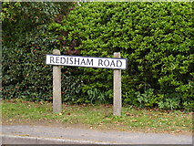 TM4087 : Redisham Road sign by Adrian Cable