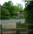 TQ0284 : Footpath crosses the road called Pinewood Green by Shazz
