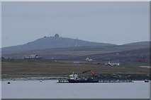 HU5899 : Salmon cage off Point of Burkwell, Uyeasound by Mike Pennington