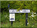 TM1341 : Grove Hill sign by Adrian Cable