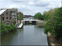 TQ3783 : River Lee near Stratford by Malc McDonald