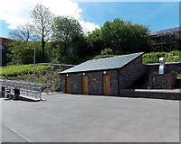 ST1599 : Bargoed bus station toilets by Jaggery