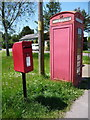 ST9022 : Ludwell: postbox № SP7 86 and phone, Coronation Drive by Chris Downer