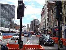 TQ2879 : View up Bressenden Place from Buckingham Palace Road by Robert Lamb
