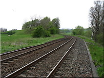 NY6565 : The Newcastle to Carlisle railway at Greenhead by David Purchase