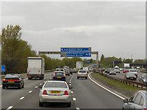 SJ7466 : Northbound M6, Sign Gantry at Junction 18 by David Dixon