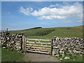 SD7671 : Wall with gate on bridleway by Trevor Littlewood
