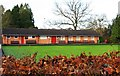 SO9063 : Bowling green and pavilion, Lido Park, Droitwich Spa by P L Chadwick