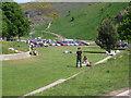 NT2673 : Close-mown grass, Scottish Parliament landscape by Robin Stott