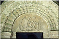 SP1403 : St Swithin, Quenington - Tympanum by John Salmon