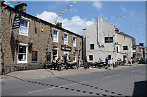 SD8789 : The Crown Hotel and The Fountain, Hawes by Philip Halling
