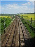 NU0937 : Looking south along the East Coast Mainline near Smeafield by Graham Robson