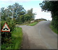 SO3105 : Humpback bridge sign and humpback bridge, Goytre  by Jaggery