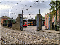 SK3455 : Tram Depot Gates, Crich Tramway Village by David Dixon