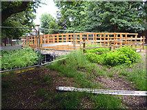 TQ2172 : Richmond Park: New bridge under construction over Beverley Brook by Dr Neil Clifton
