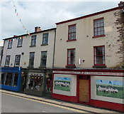 SO2956 : Artwork brightens up a derelict shop, Kington by Jaggery