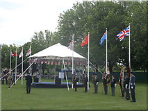 TQ7668 : Parade of Veterans Flags, Armed Forces Day by David Anstiss