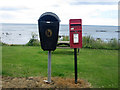 NT9660 : Post box and litter bin at Cowdrait by Graham Robson