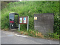NT9560 : Telephone box and notice board, Lower Burnmouth by Graham Robson