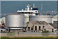"""J3675 : The """"Bro Deliverer"""", Belfast harbour by Albert Bridge"""