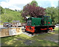 SO0843 : Preserved diesel locomotive and milk churns at Erwood Station Craft Centre by Jaggery