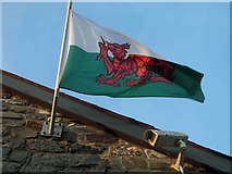 SN4562 : Welsh dragon flag lying outside The Harbourmaster hotel, Aberaeron by Steve  Fareham