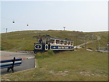 SH7783 : Tram approaching Halfway station, Great Orme Tramway by Mrs J Whatley