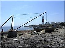 SY6768 : Portland Bill, Lighthouse and crane by Alex McGregor