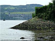 NS4074 : River emnankment at Dumbarton by Thomas Nugent