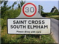 TM2984 : St Cross South Elmham sign by Adrian Cable