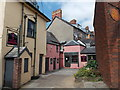 SO0428 : Pink buildings in a yard, Brecon by Jaggery