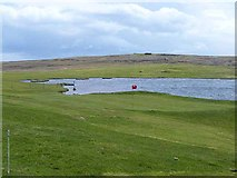 HU5966 : Green at Whalsay Golf Club by Oliver Dixon