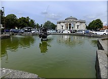 SJ3384 : Water feature and Lady Lever Art Gallery by Richard Hoare