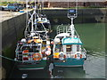 NT6779 : Leith Registered Fishing Boats : Fiddlers Green (LH46) and Tangaroa (LH602) at Victoria Harbour, Dunbar by Richard West