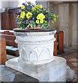 SP3507 : Norman Font - St Bartholomew's Church by Betty Longbottom