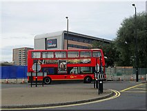 TQ4180 : London bus outside Travelodge near London City Airport by Dominique Macneill