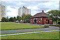 SJ8990 : Pavilion by the bowling greens, Heaton Norris Park, Lancashire Hill by Robin Stott