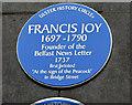 J3474 : Francis Joy plaque, Belfast by Albert Bridge