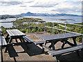 NG7527 : Picnic benches at the viewpoint by Richard Dorrell