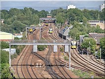 SJ8499 : Rail and Tram Tracks, North of Victoria by David Dixon