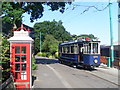 TM5090 : Telephone Kiosk and tram at the East Anglia Transport Museum by David Hillas