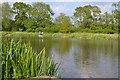 SP2965 : Fishing, sort of, Kingfisher Pool, Myton Fields by Robin Stott