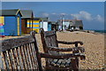 TR3848 : Benches and beach huts by David Martin