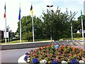 S5057 : Flags and flowers in front of Newpark Hotel by Darrin Antrobus
